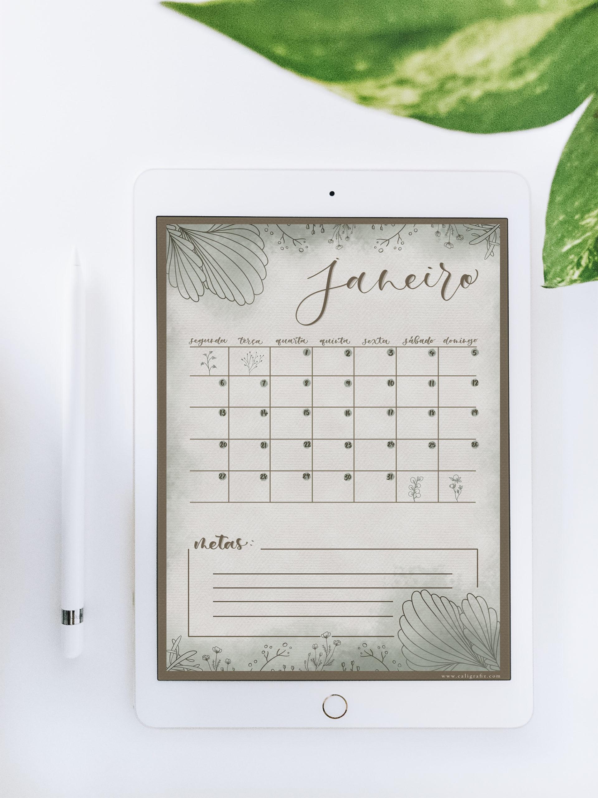 Planner do mês de janeiro com tema natureza nas cores verde e marrom e espaço para anotações de metas referente ao mês.