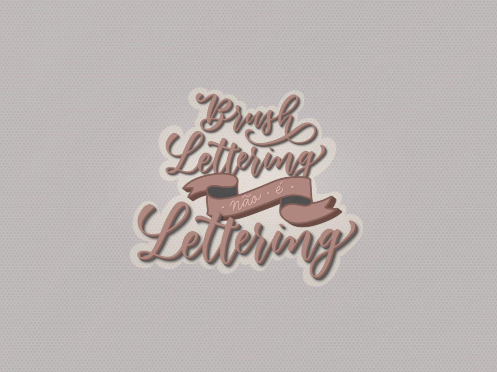 Arte digital com a frase Brush lettering não é lettering escrita em caligrafia moderna