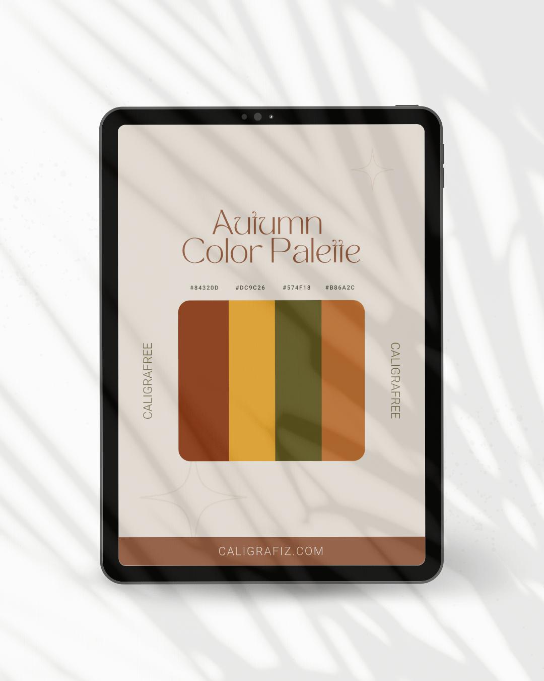 iPad com paleta de cores que representam os tons do outono
